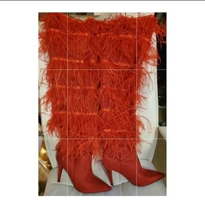 THIGH HIGH FEATHER STILLETO BOOTS-(RED)